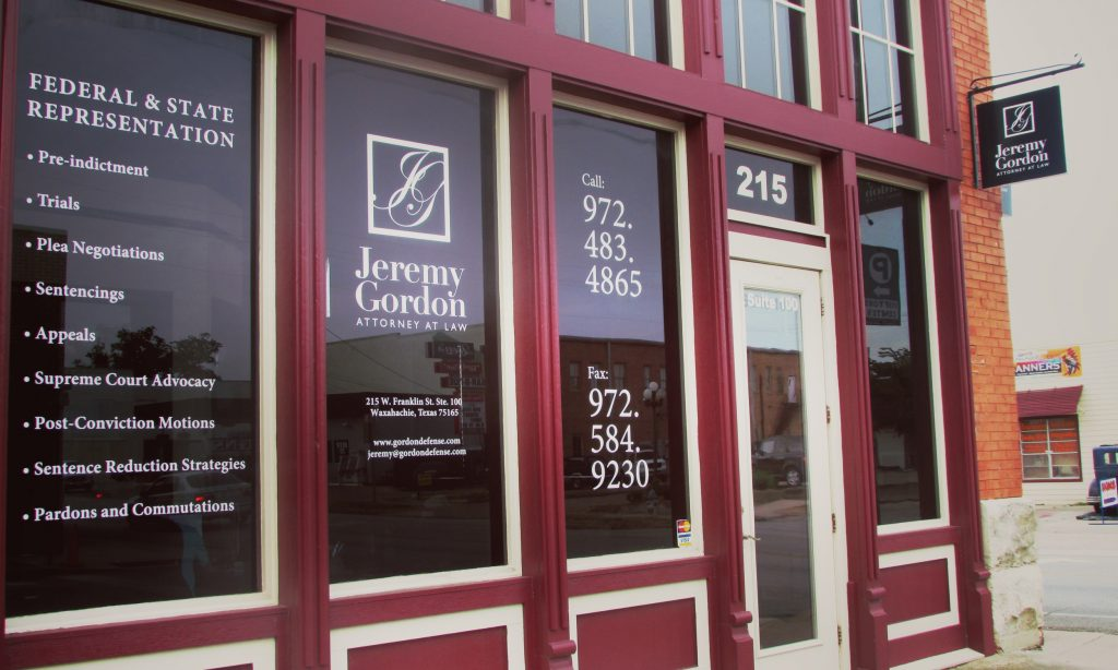 Law Office of Jeremy Gordon window sign.