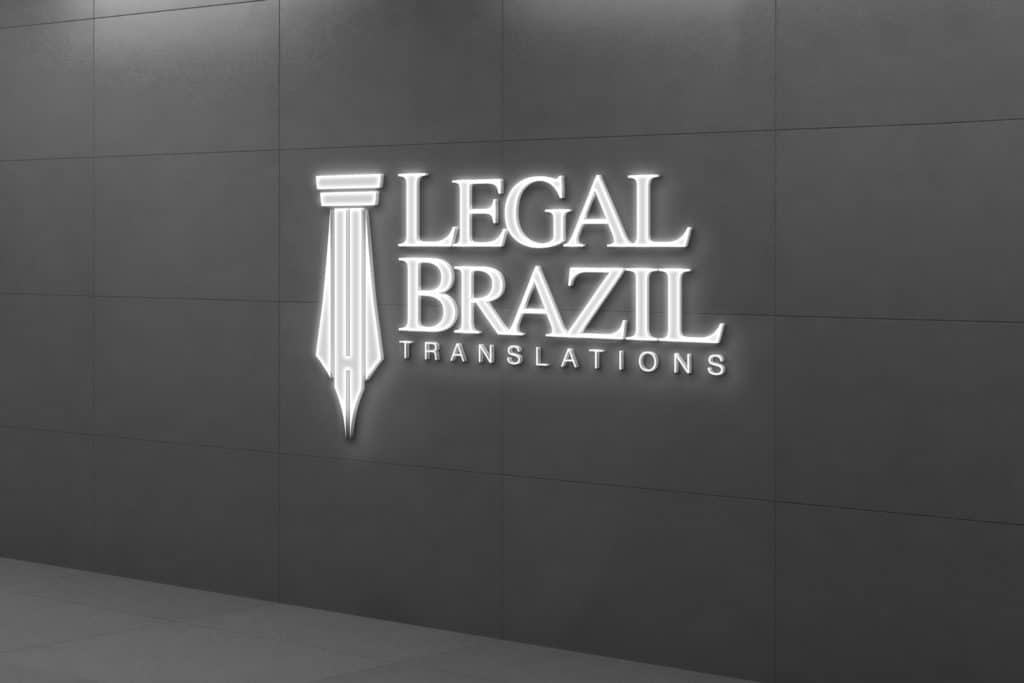 Legal Brazil Logo glowing sign on concrete wall.