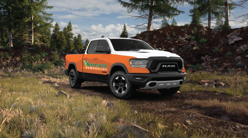 Dodge Ram truck in Vermont Remodeling livery