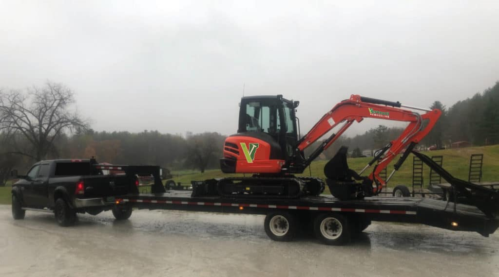 Excavator in Vermont Remodeling graphic wrap